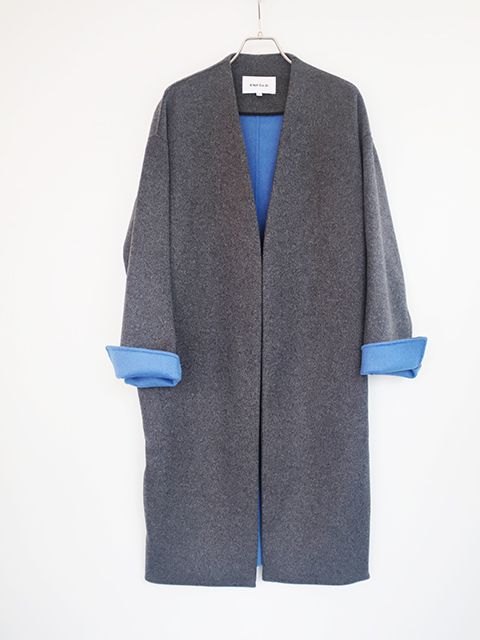 画像1: 【ENFOLD-エンフォルド】 WOOL REVER NO COLLAR COAT C.GREY (1)