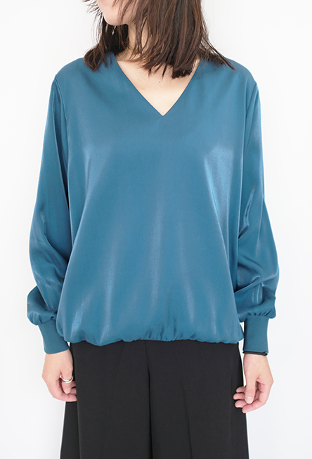 画像1: 【Tomoumi Ono】V NECK LONG SLEEVE BLUE (1)