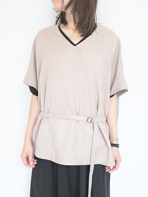 画像1: 【Tomoumi Ono】V NECK BLOUSE GREY (1)