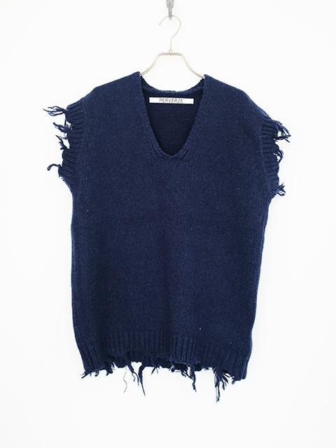 画像1: 【PERVERZE】Crash Boxy Knit Vest Blue (1)