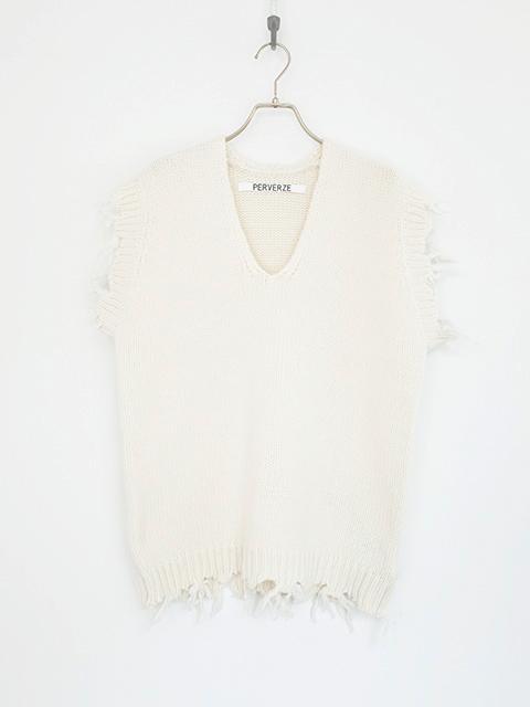 画像1: 【PERVERZE】Crash Boxy Knit Vest White (1)