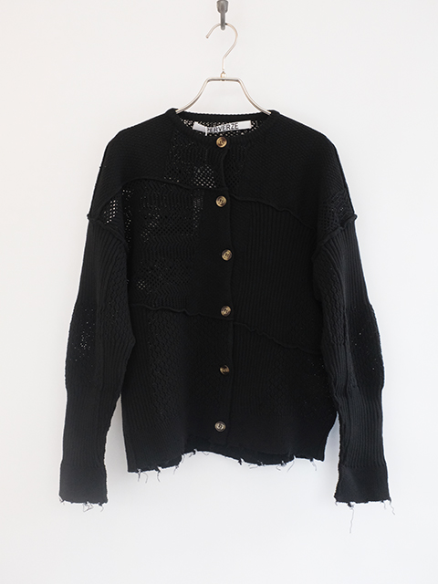 画像1: 【PERVERZE】Patch Knit Cardigan Black (1)