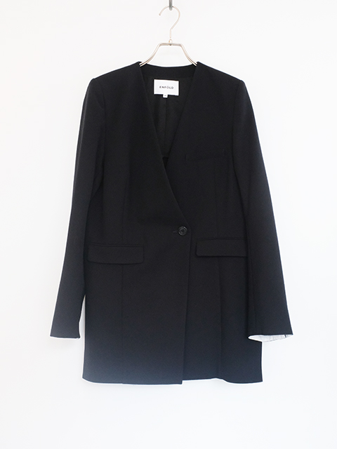 画像1: 【ENFOLD-エンフォルド】NO COLLAR JACKET BLACK (1)