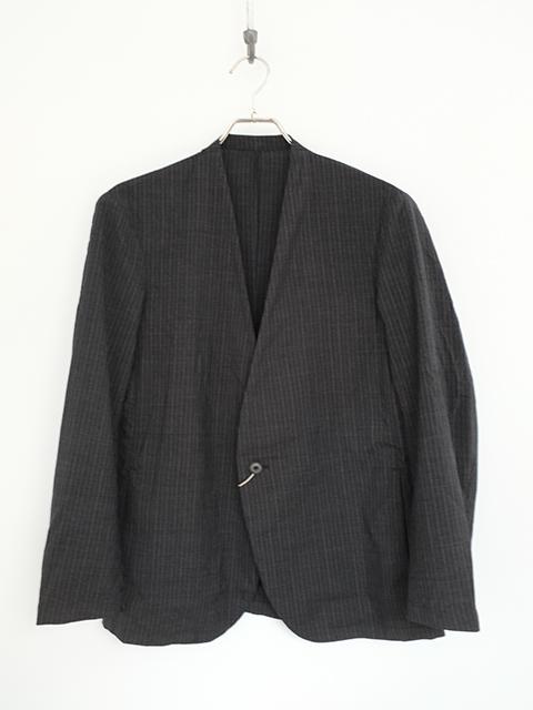 画像1: COLINA-コリーナ Washable Wool No Collar Jacket GREY STRIPE (1)
