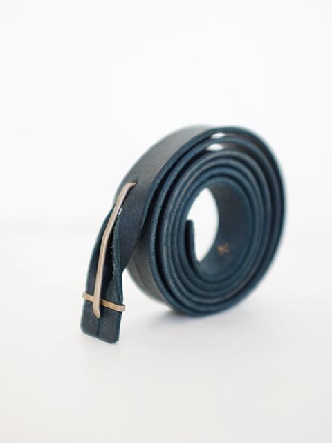 画像1: m.a+-エムエークロス Leather Buckle Slim Belt PETROL (1)