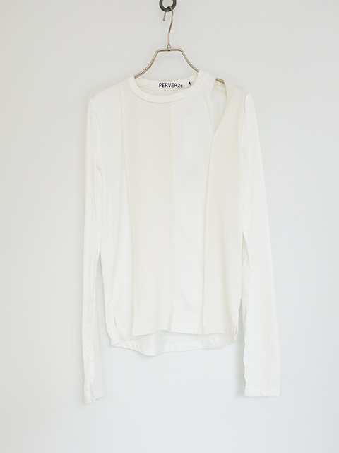画像1: 【PERVERZE】Double Hole Long Tee White (1)