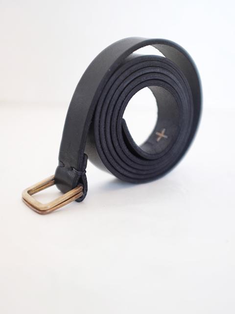 画像1: m.a+-エムエークロス Double square buckle slim belt BLACK (1)